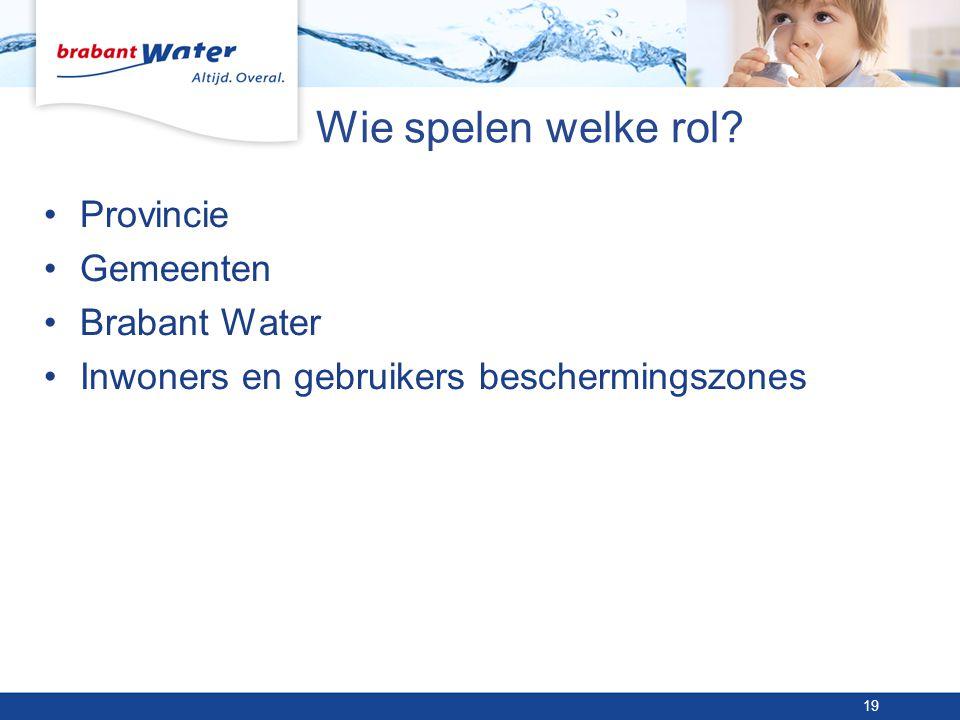 Wie spelen welke rol Provincie Gemeenten Brabant Water