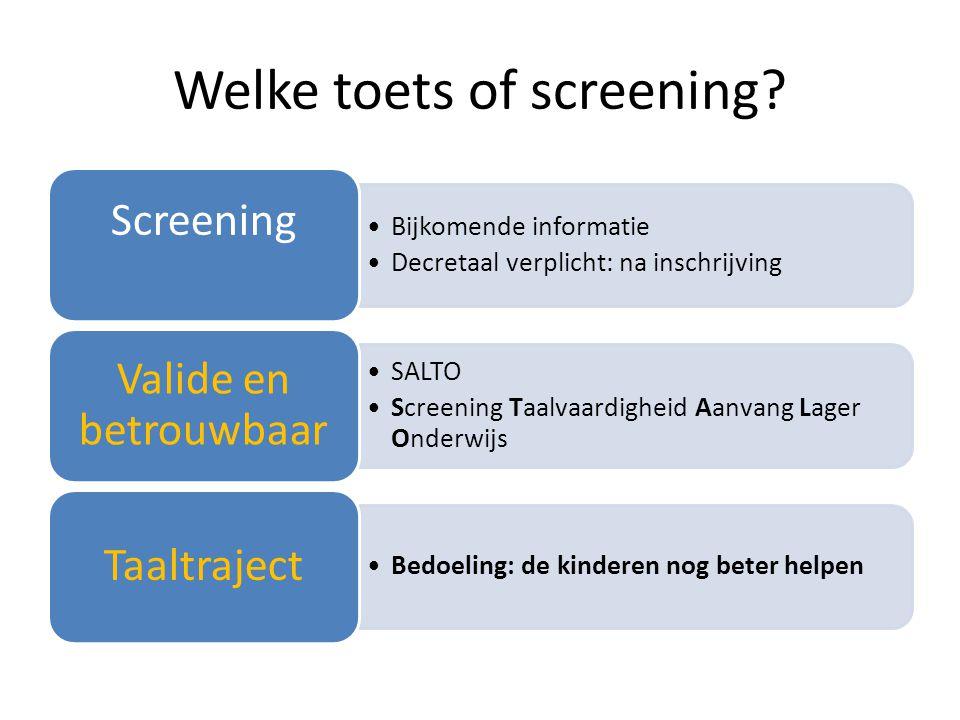 Welke toets of screening