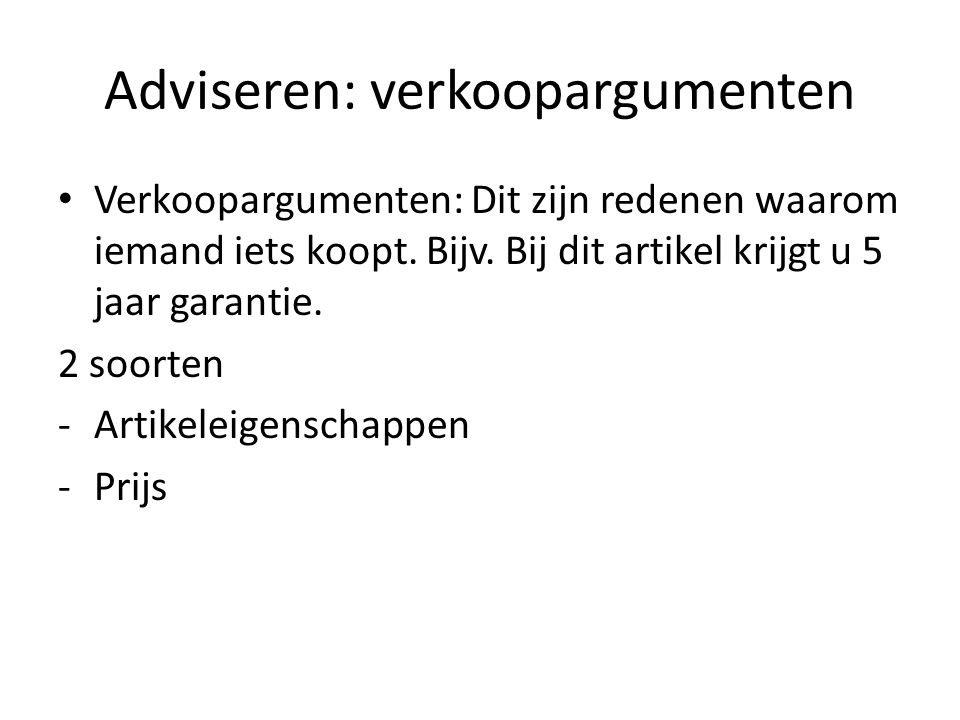 Adviseren: verkoopargumenten