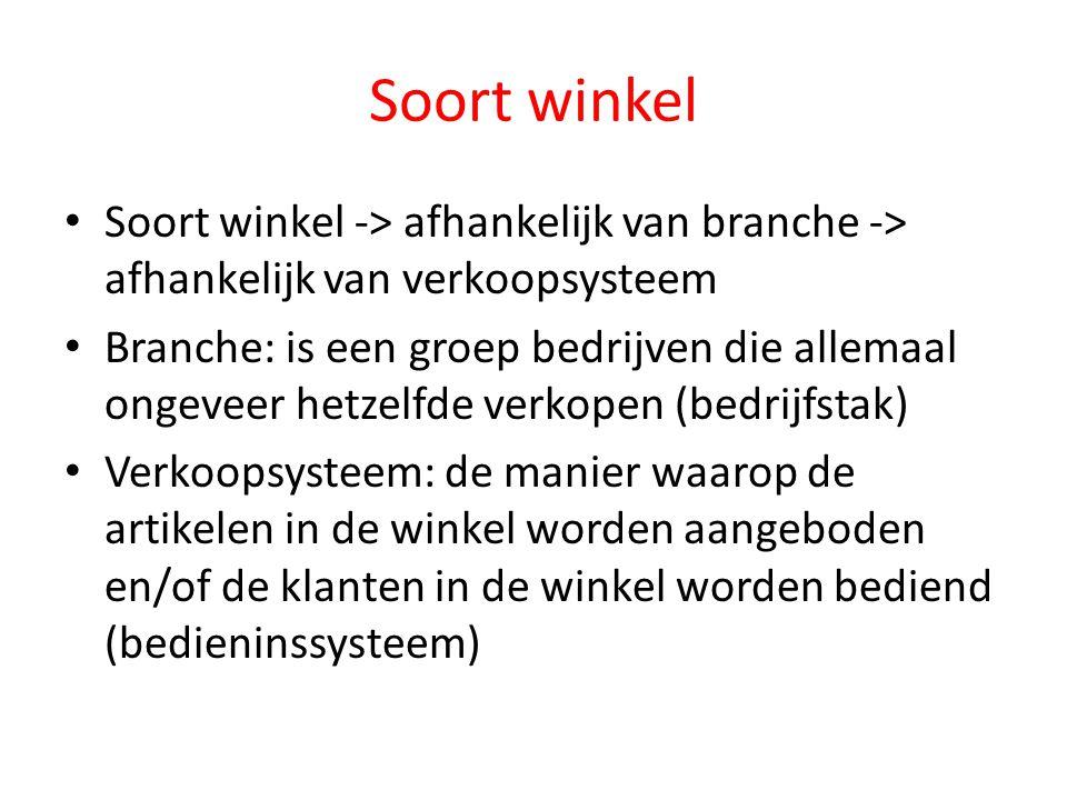 Soort winkel Soort winkel -> afhankelijk van branche -> afhankelijk van verkoopsysteem.
