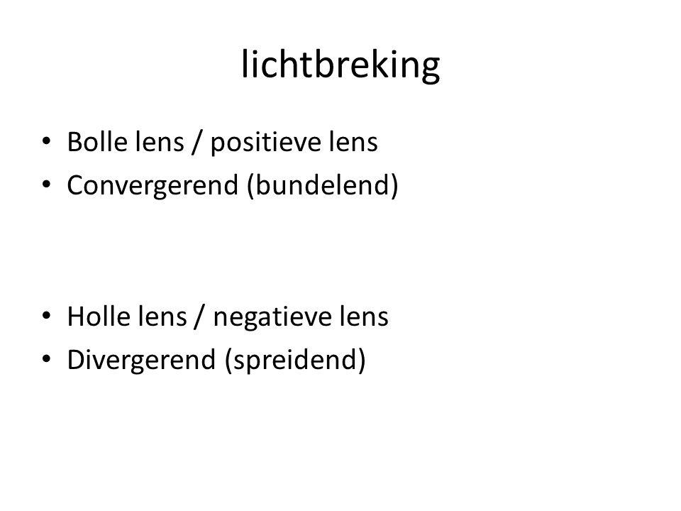 lichtbreking Bolle lens / positieve lens Convergerend (bundelend)