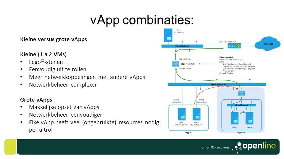 vApp combinaties: Kleine versus grote vApps Kleine (1 a 2 VMs)