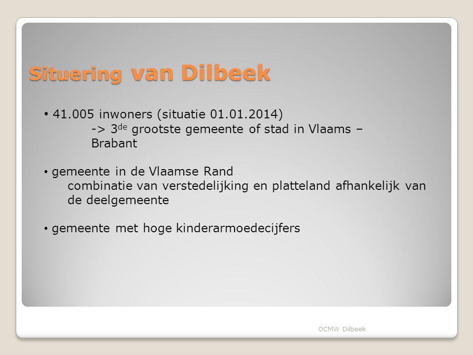 Situering van Dilbeek 41.005 inwoners (situatie 01.01.2014)