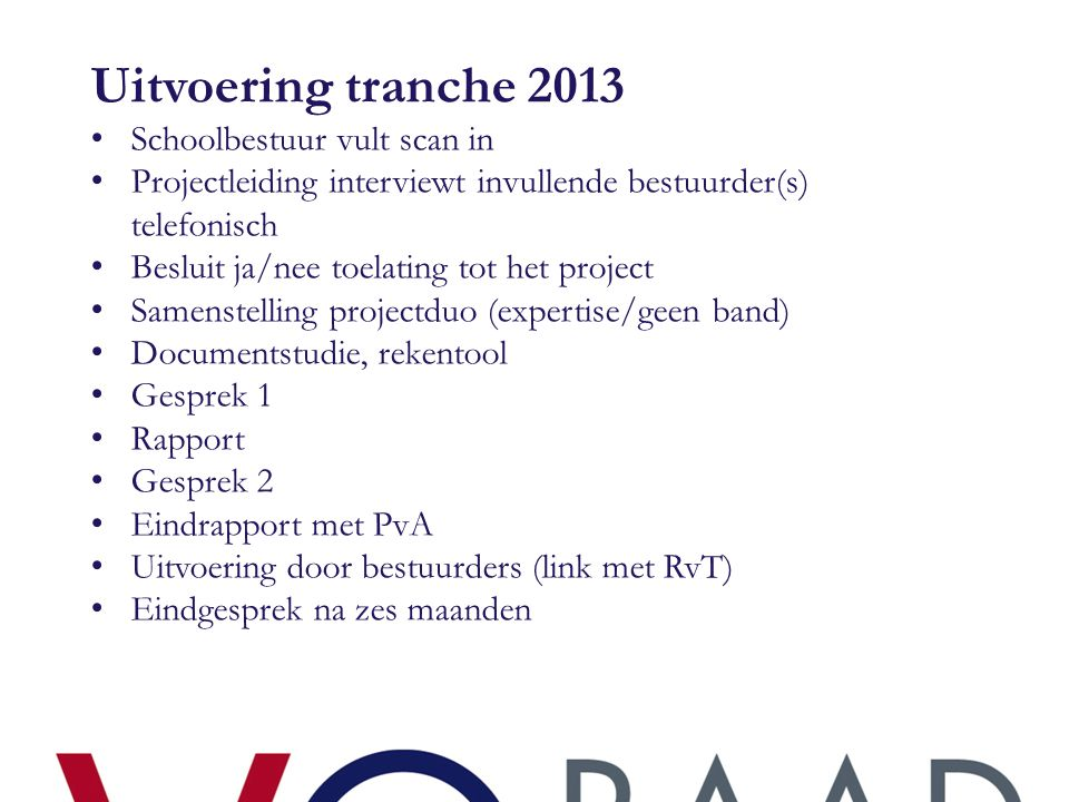 Uitvoering tranche 2013 Schoolbestuur vult scan in