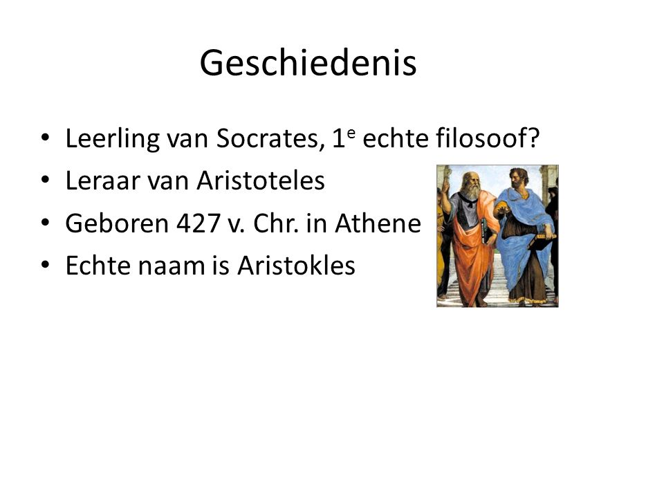 Geschiedenis Leerling van Socrates, 1e echte filosoof
