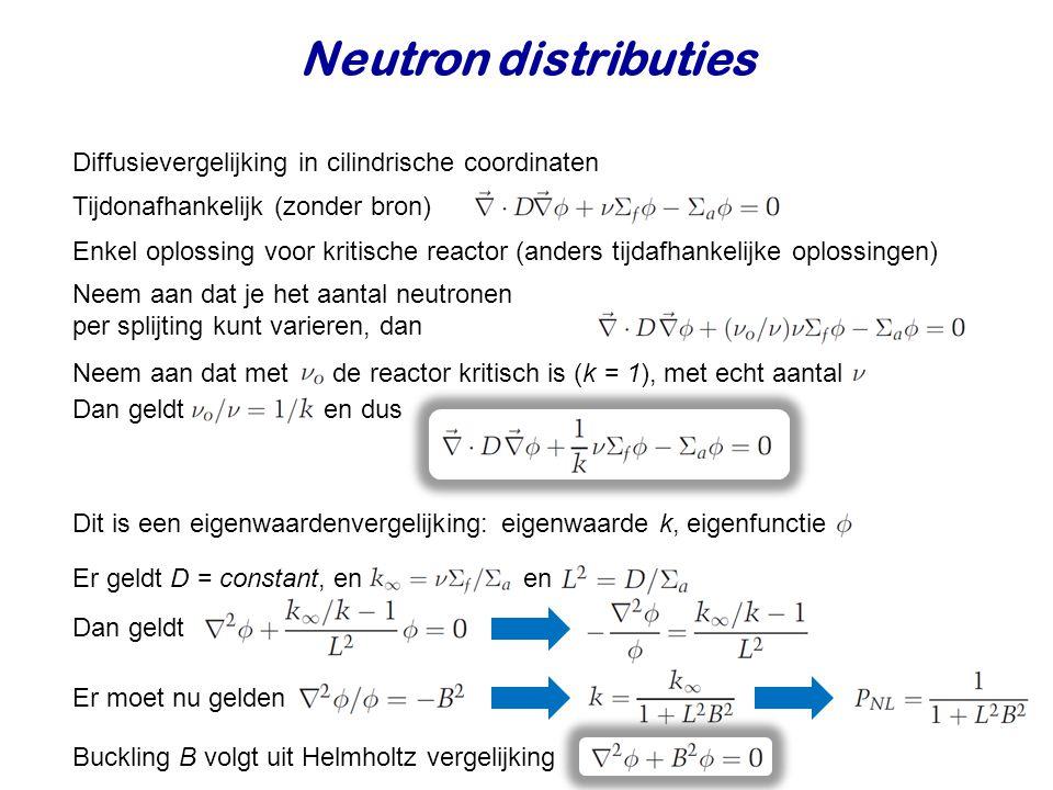 Neutron distributies Diffusievergelijking in cilindrische coordinaten