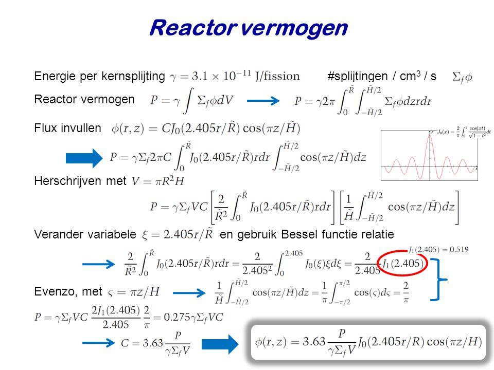 Reactor vermogen Energie per kernsplijting #splijtingen / cm3 / s