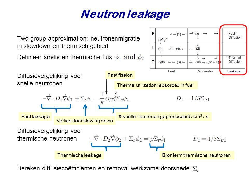 Neutron leakage Two group approximation: neutronenmigratie in slowdown en thermisch gebied. Definieer snelle en thermische flux.