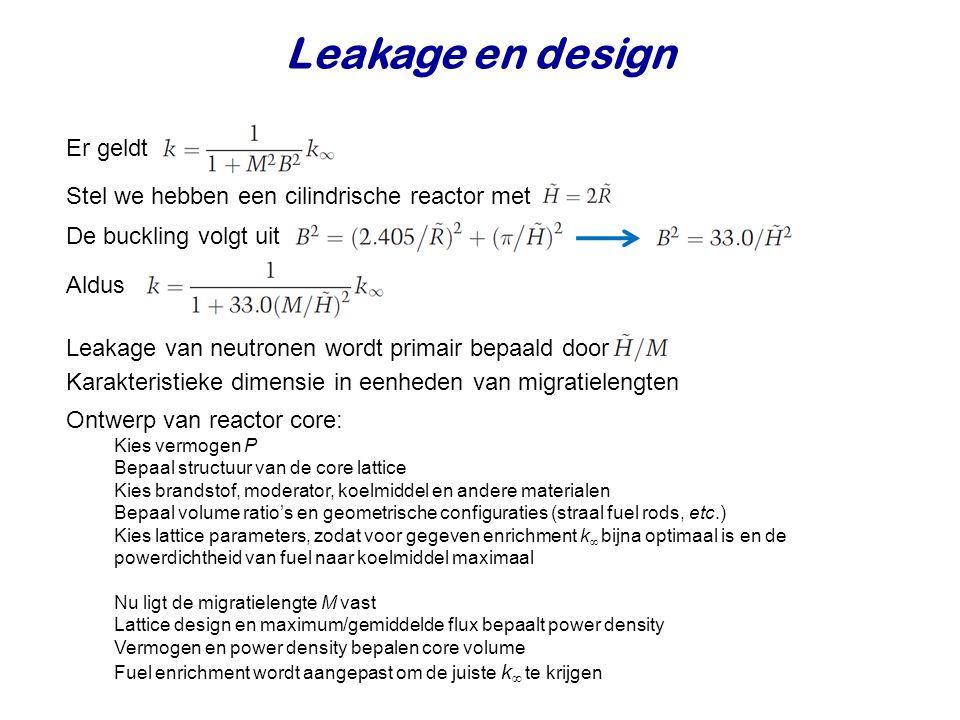 Leakage en design Er geldt Stel we hebben een cilindrische reactor met