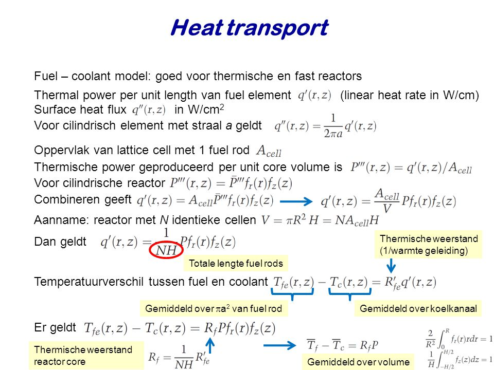 Heat transport Fuel – coolant model: goed voor thermische en fast reactors.