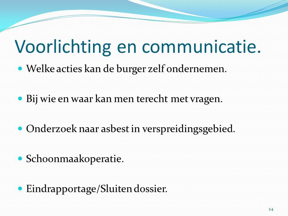 Voorlichting en communicatie.