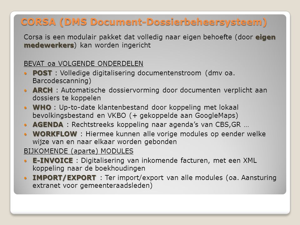 CORSA (DMS Document-Dossierbeheersysteem)