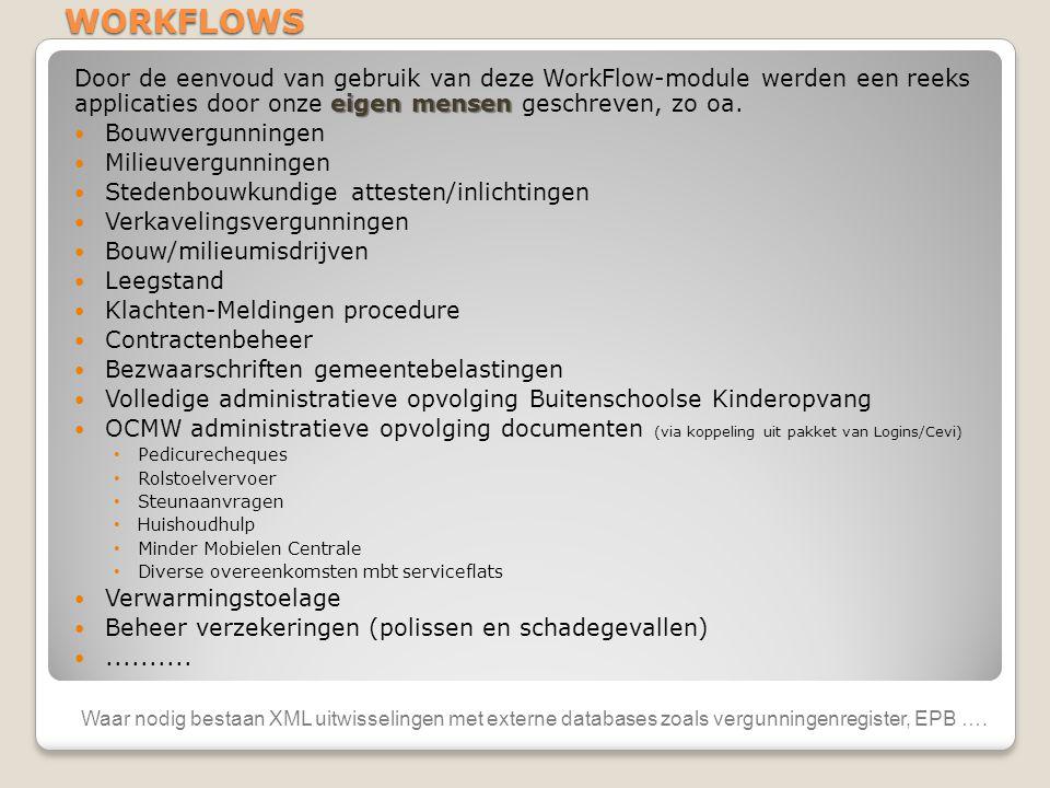 WORKFLOWS Door de eenvoud van gebruik van deze WorkFlow-module werden een reeks applicaties door onze eigen mensen geschreven, zo oa.