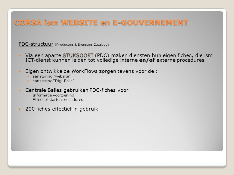 CORSA ism WEBSITE en E-GOUVERNEMENT