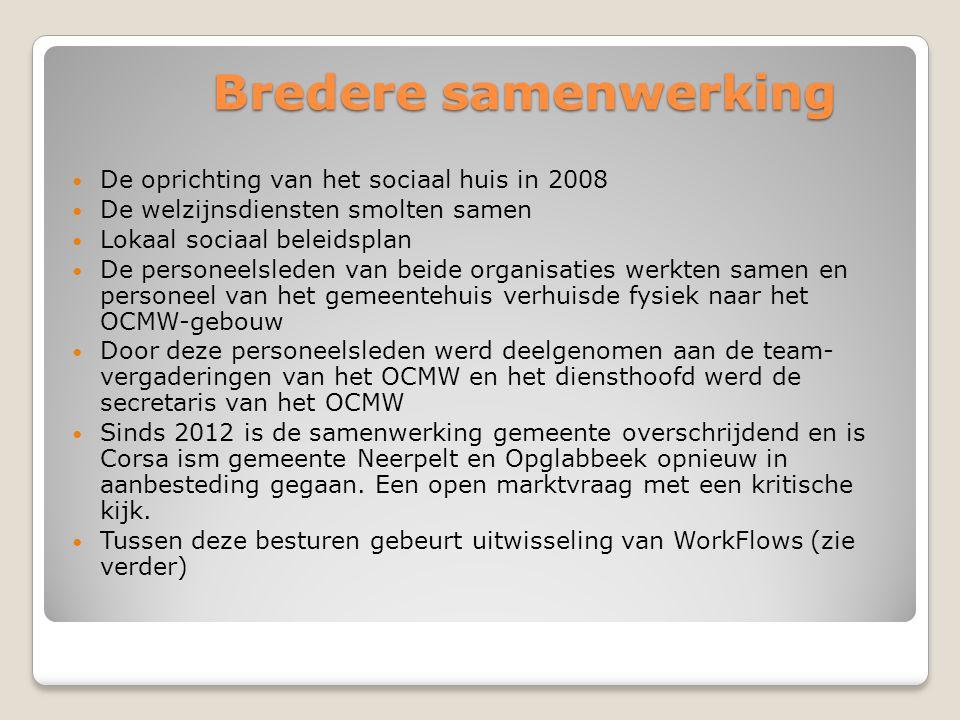 Bredere samenwerking De oprichting van het sociaal huis in 2008