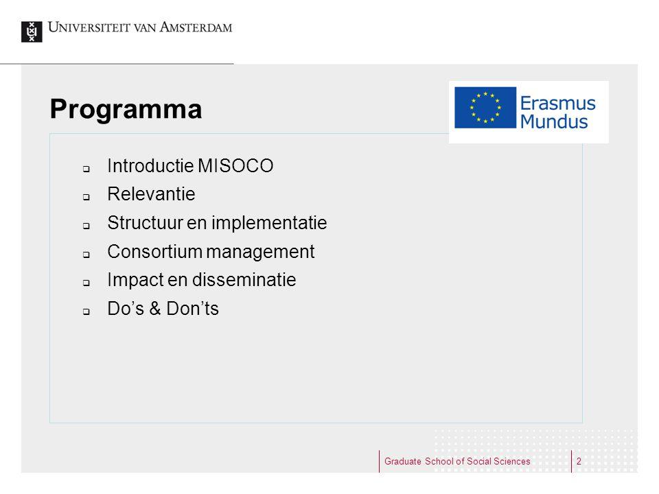 Programma Introductie MISOCO Relevantie Structuur en implementatie