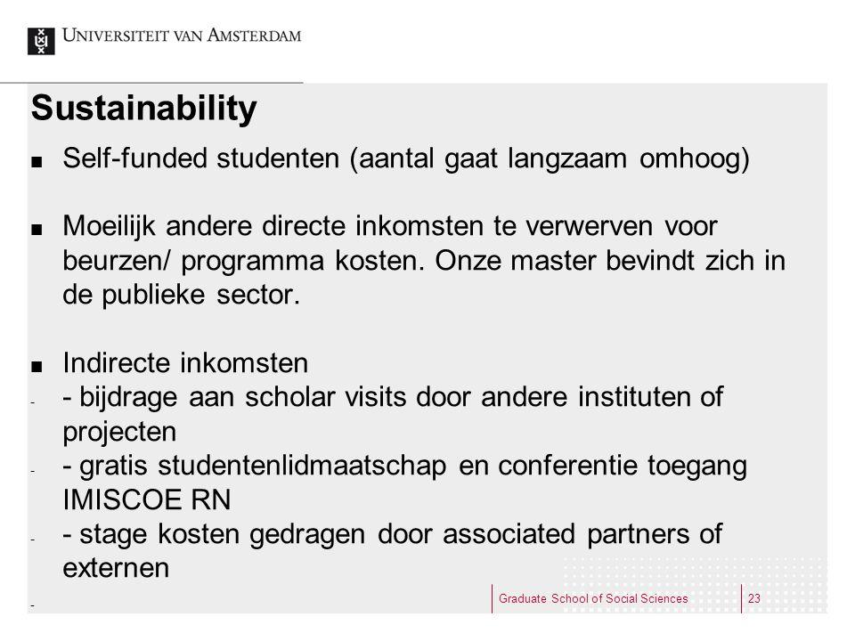 Sustainability Self-funded studenten (aantal gaat langzaam omhoog)