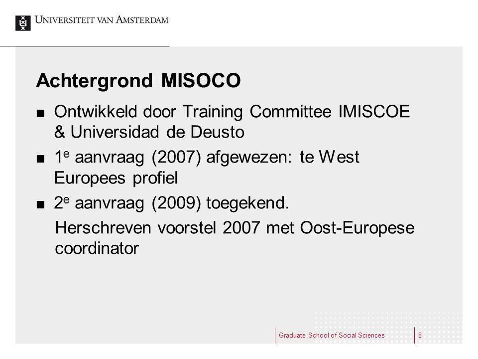 Achtergrond MISOCO Ontwikkeld door Training Committee IMISCOE & Universidad de Deusto. 1e aanvraag (2007) afgewezen: te West Europees profiel.