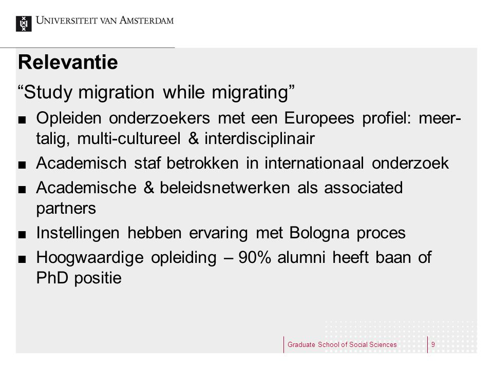 Relevantie Study migration while migrating