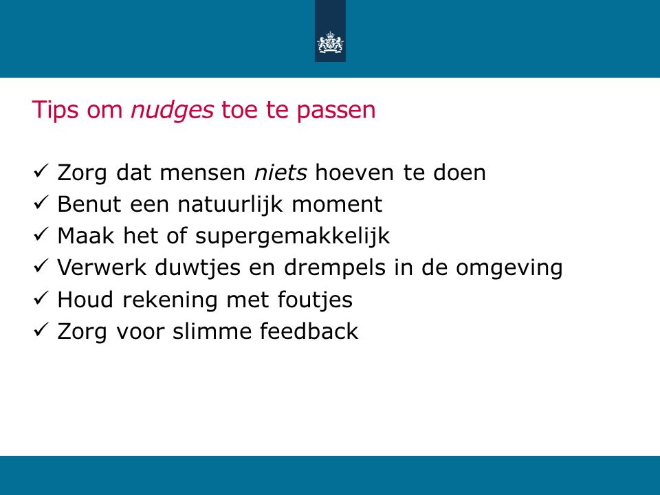 Tips om nudges toe te passen