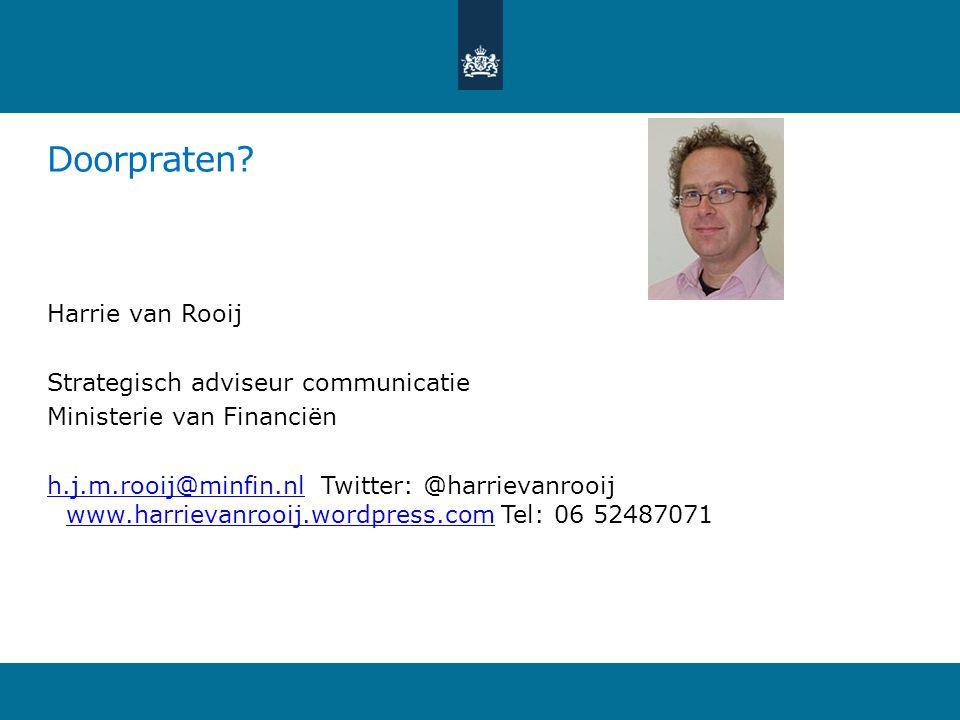 Doorpraten Harrie van Rooij Strategisch adviseur communicatie