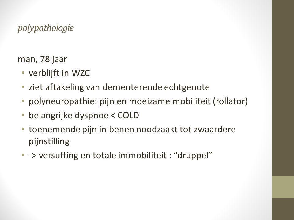 polypathologie man, 78 jaar. verblijft in WZC. ziet aftakeling van dementerende echtgenote.