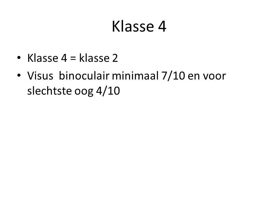 Klasse 4 Klasse 4 = klasse 2 Visus binoculair minimaal 7/10 en voor slechtste oog 4/10