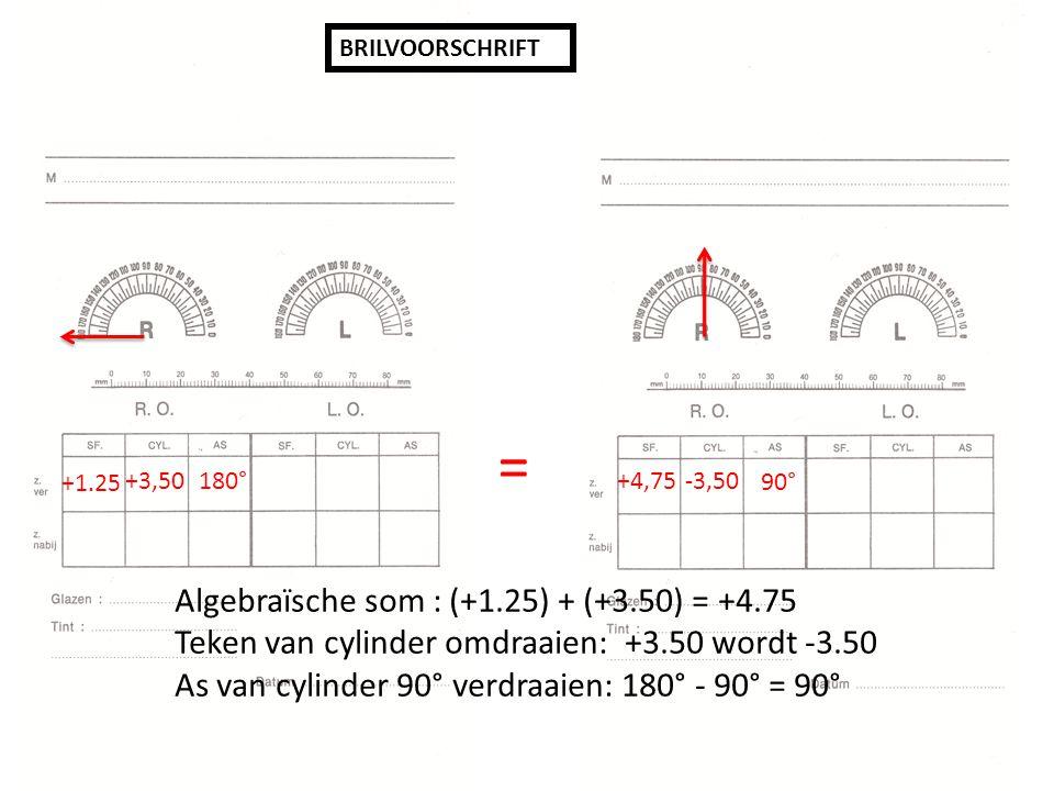 = Algebraïsche som : (+1.25) + (+3.50) = +4.75
