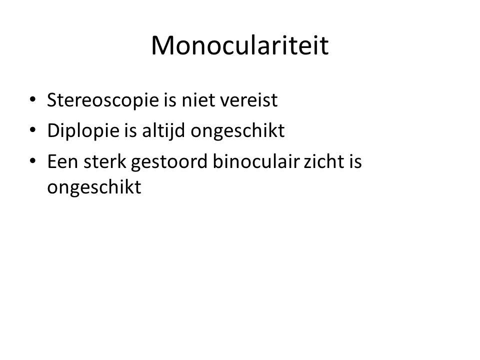 Monoculariteit Stereoscopie is niet vereist