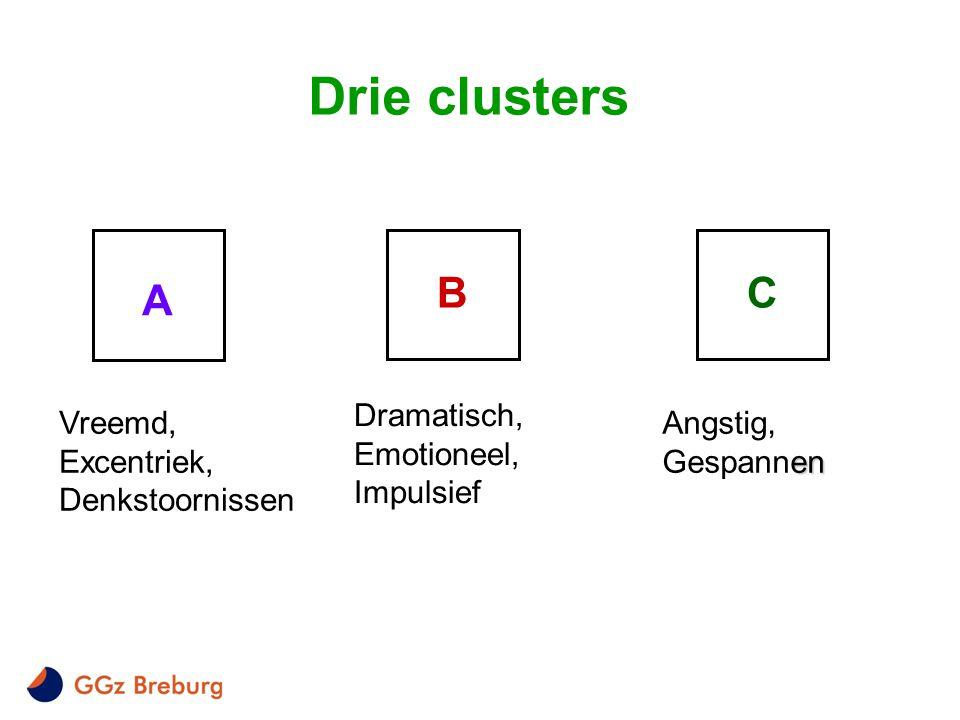 Drie clusters B C A Dramatisch, Emotioneel, Impulsief Vreemd,