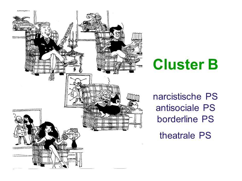 Cluster B narcistische PS antisociale PS borderline PS theatrale PS