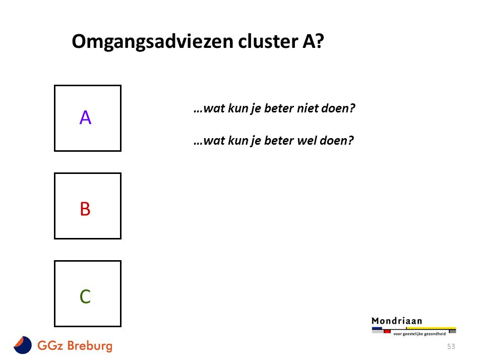 Omgangsadviezen cluster A
