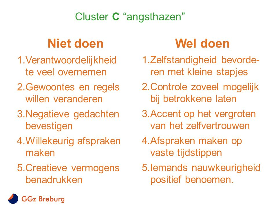 Cluster C angsthazen