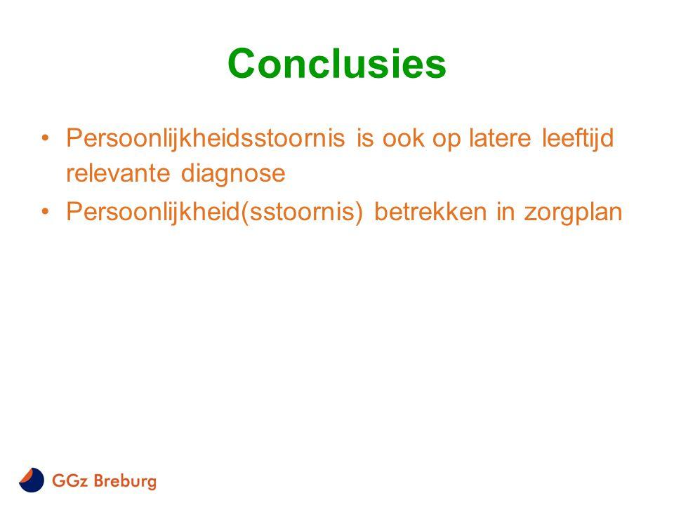 Conclusies Persoonlijkheidsstoornis is ook op latere leeftijd relevante diagnose.