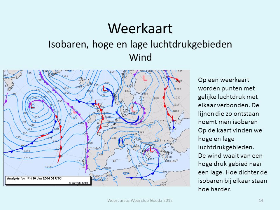 Weerkaart Isobaren, hoge en lage luchtdrukgebieden Wind