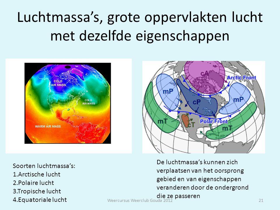 Luchtmassa's, grote oppervlakten lucht met dezelfde eigenschappen