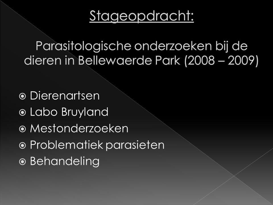Stageopdracht: Parasitologische onderzoeken bij de dieren in Bellewaerde Park (2008 – 2009)