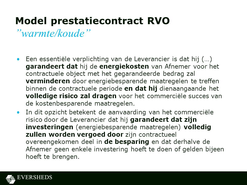 Model prestatiecontract RVO warmte/koude