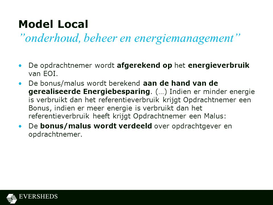 Model Local onderhoud, beheer en energiemanagement