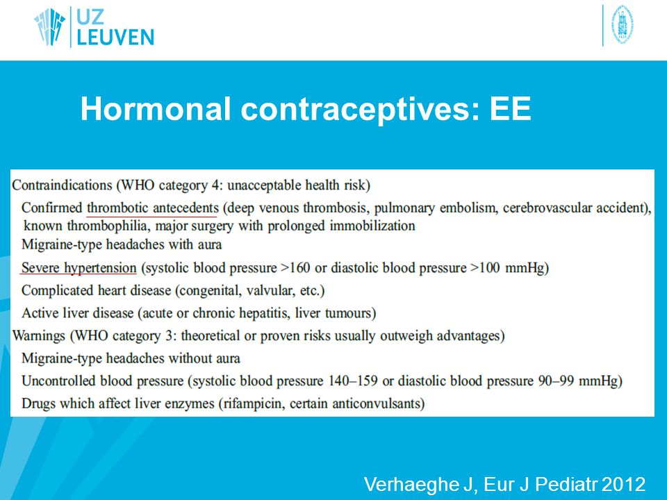 Hormonal contraceptives: EE
