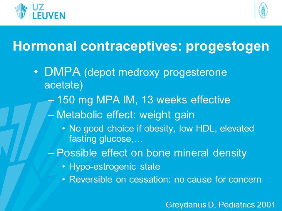 Hormonal contraceptives: progestogen