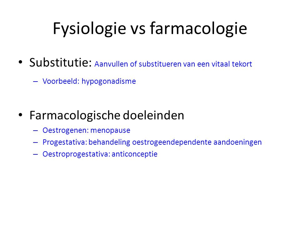 Fysiologie vs farmacologie