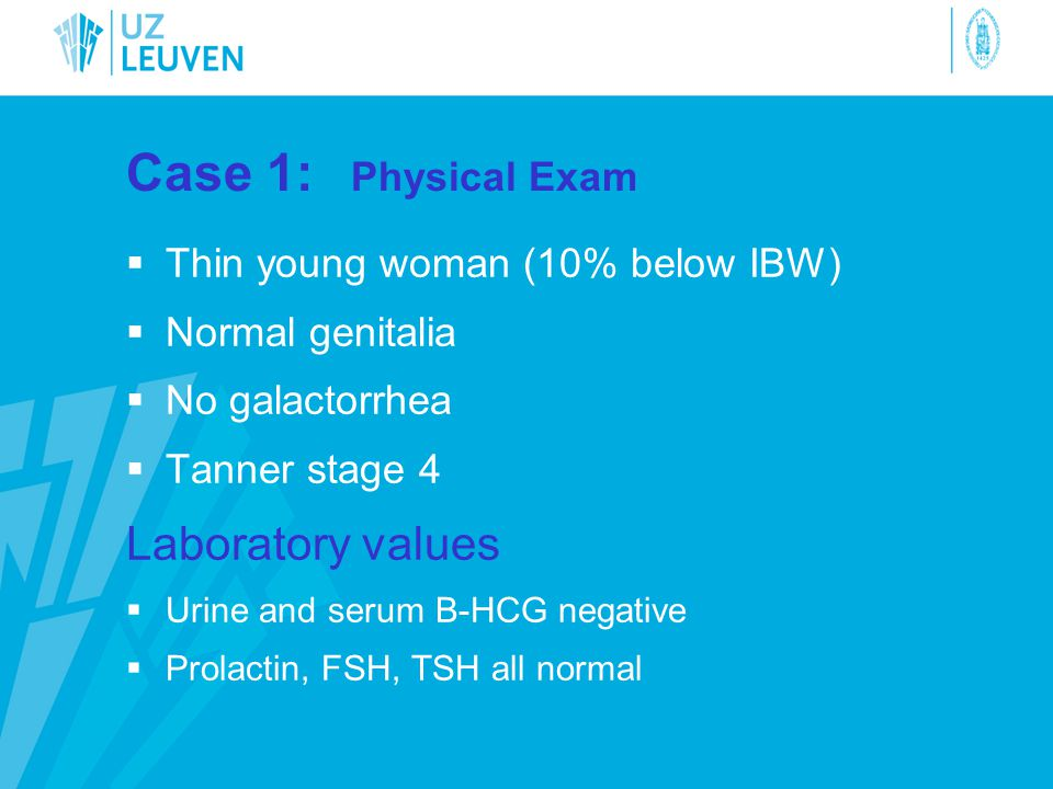Case 1: Physical Exam Laboratory values