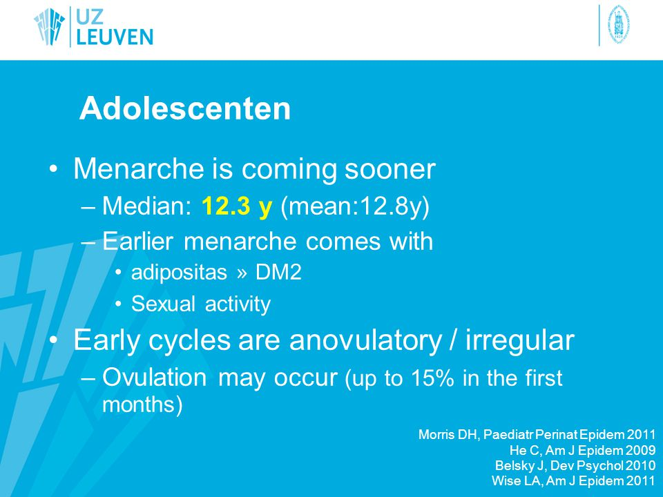 Adolescenten Menarche is coming sooner
