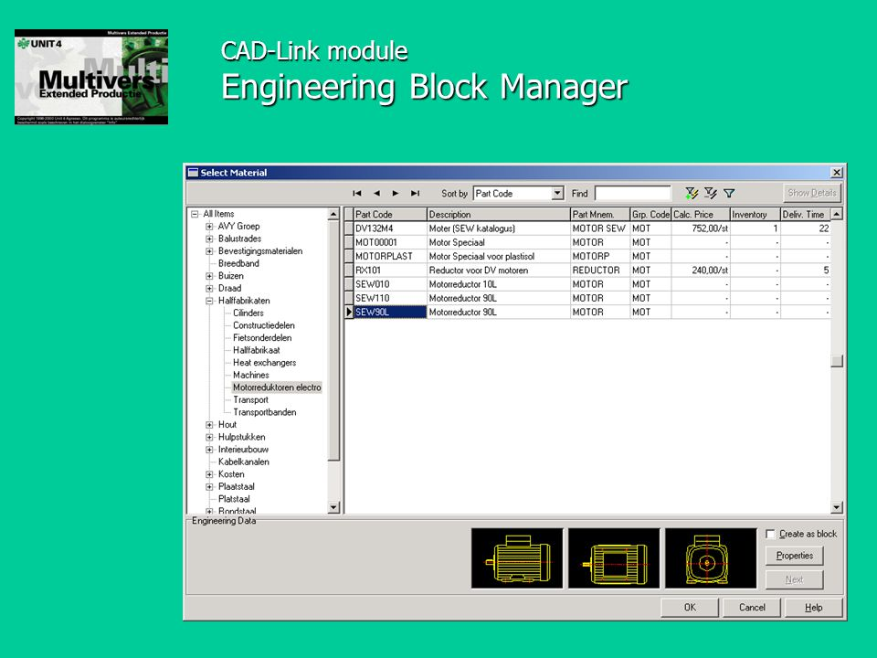 CAD-Link module Engineering Block Manager