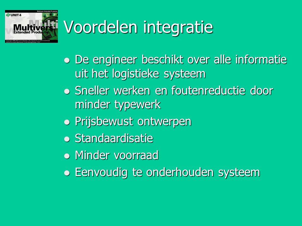 Voordelen integratie De engineer beschikt over alle informatie uit het logistieke systeem. Sneller werken en foutenreductie door minder typewerk.