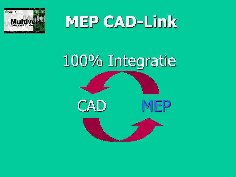 MEP CAD-Link 100% Integratie CAD MEP