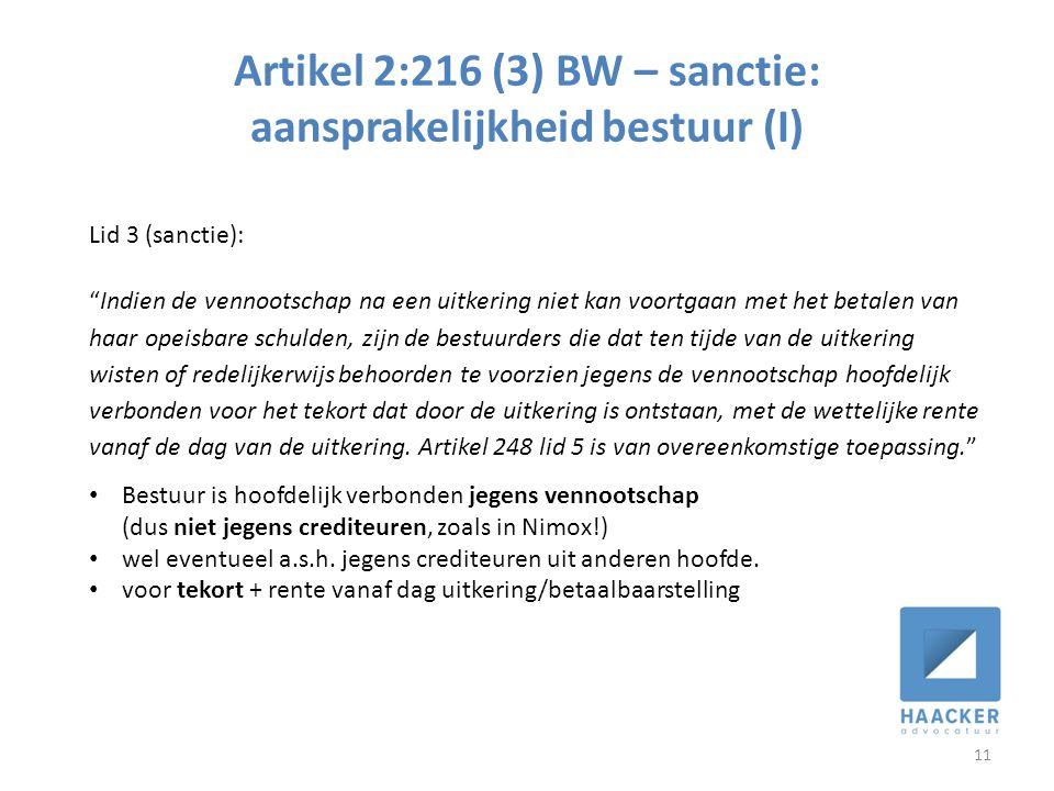 Artikel 2:216 (3) BW – sanctie: aansprakelijkheid bestuur (I)