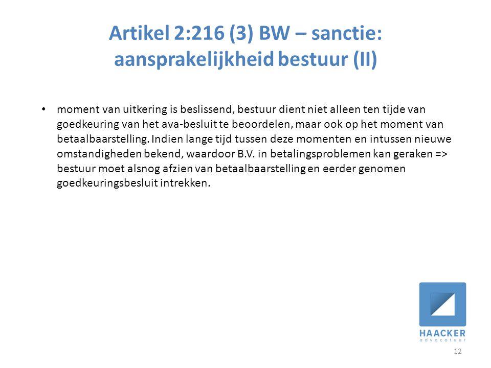 Artikel 2:216 (3) BW – sanctie: aansprakelijkheid bestuur (II)
