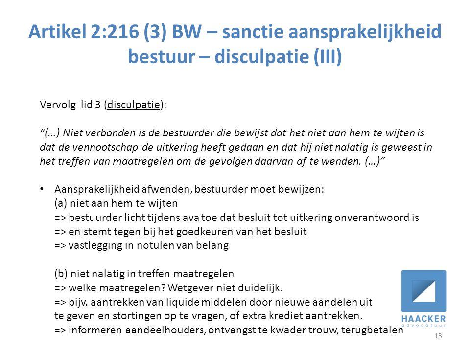 Artikel 2:216 (3) BW – sanctie aansprakelijkheid bestuur – disculpatie (III)